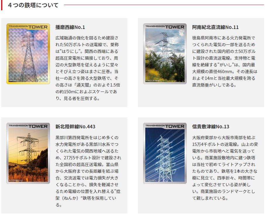 関西電力鉄塔カード