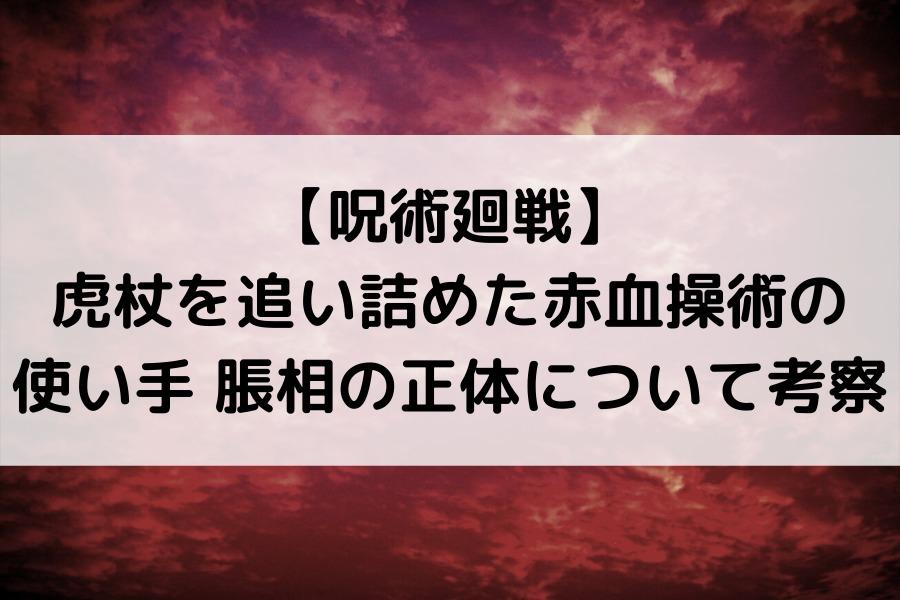 【呪術廻戦】 虎杖を追い詰めた赤血操術の 使い手 脹相の正体について考察